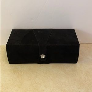 Vintage Mele black jewelry case with rhinestones